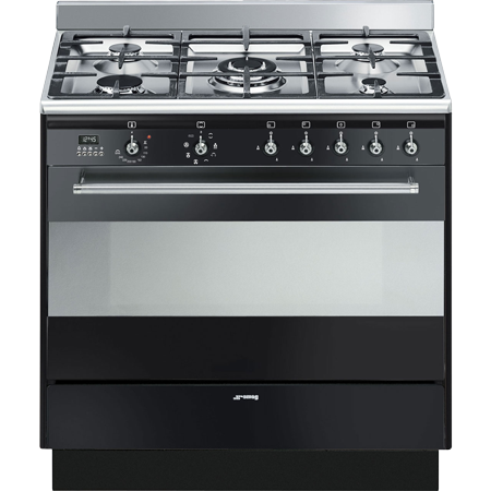 smeg SUK91MBL9, 90cm Dual Fuel Range Cooker with Multifunction Oven and Gas hob, Black Energy rating A