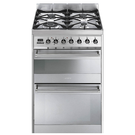 smeg SY62MX8, 60cm Dual Fuel Cooker in Stainless Steel with A/A Energy Rating