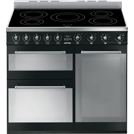 smeg SY93IBL, 90cm Electric Range Cooker with Induction Hob in Black with A/B Energy Rating
