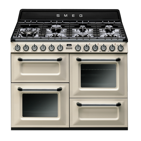 smeg TR4110P1, 110cm Victoria Aesthetic Dual Fuel 4 cavity Cooker - Cream