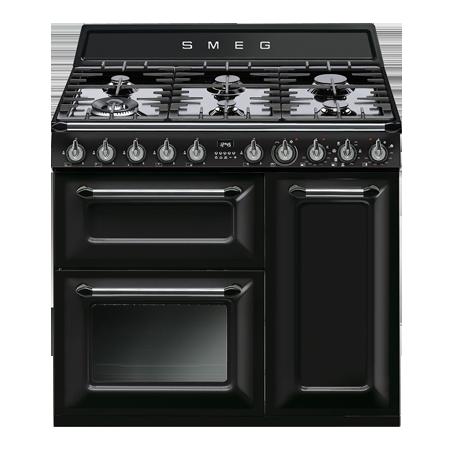 smeg TR93BL, 90cm Victoria Aesthetic 3 cavity Dual Fuel Range Cooker Black