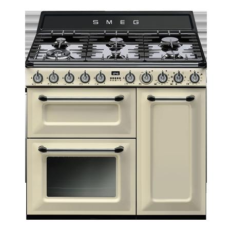 smeg TR93P, 90cm Victoria Aesthetic Dual Fuel Range Cooker - Cream