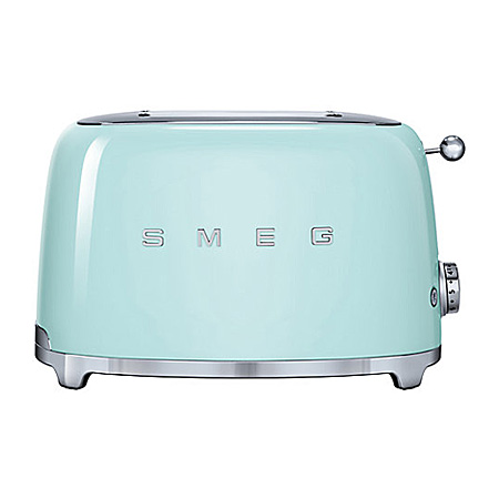 smeg TSF01PGUK, 50s Retro Style 2 Slice Toaster in Pastel Green