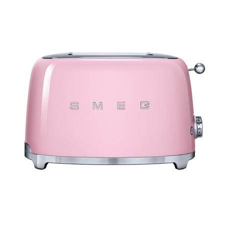 smeg TSF01PKUK, 50s Retro Style 2 Slice Toaster in Pink