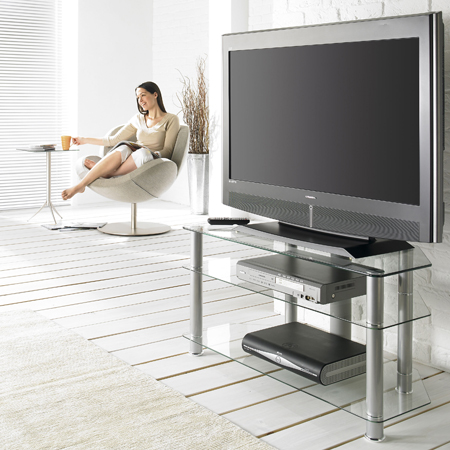 sona AVCR423G, 3 Glass Shelf Support for Plasma / LCD Screens up to 42 inch with Associated AV Equipment